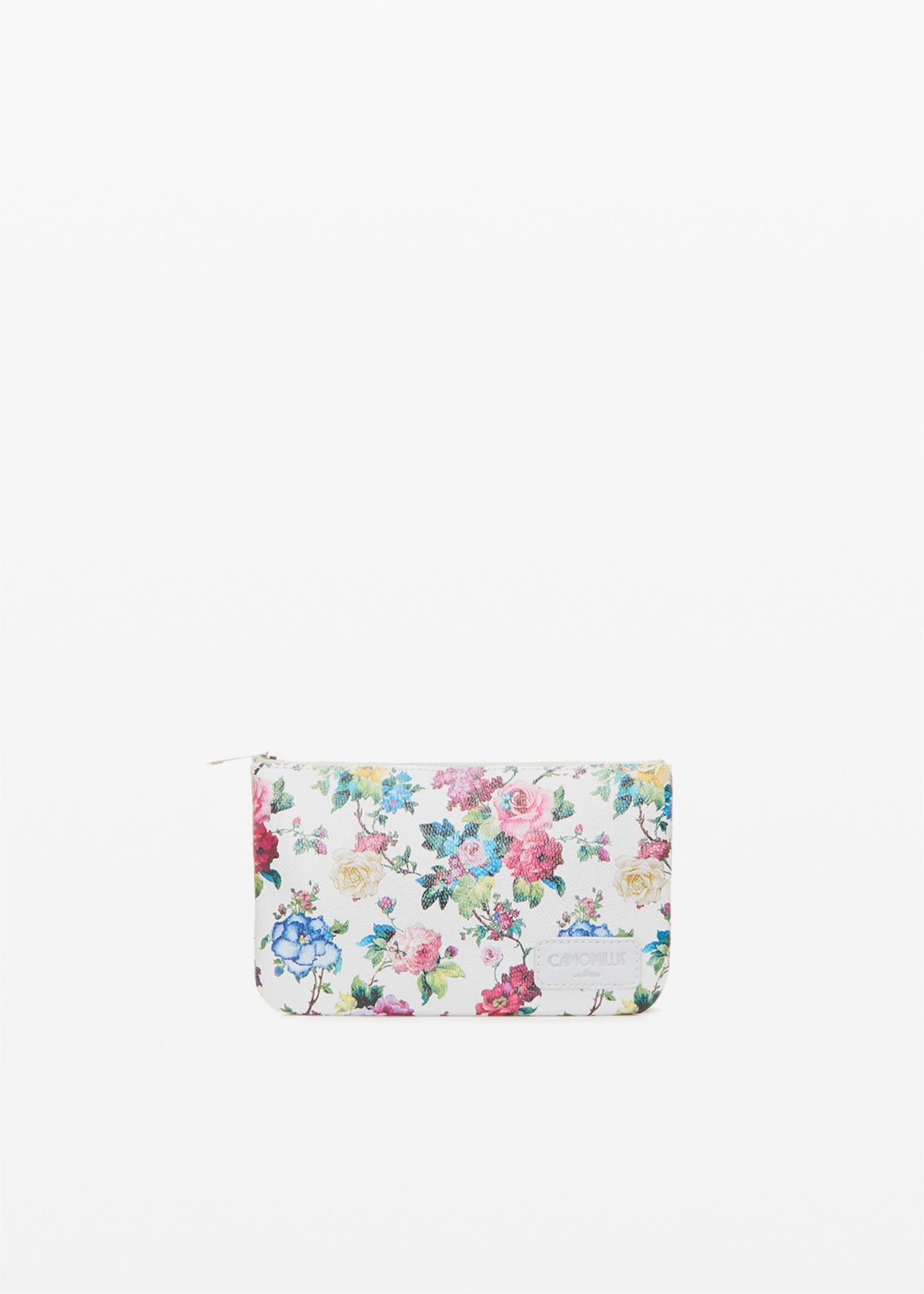 Small bag Tongaflo1 in ecopelle flowers print - Light Grey Fantasia