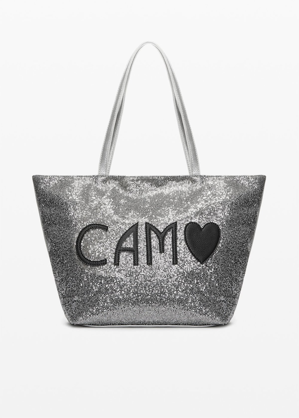 Bondy Shopping bag in sparkling material - Grey_Ocher - Woman