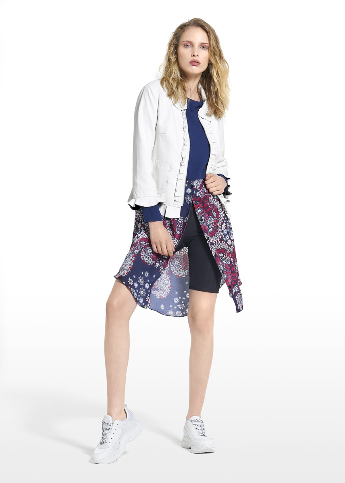 Faux leather jacket Grace with collar and flounces at the bottom - White - Woman