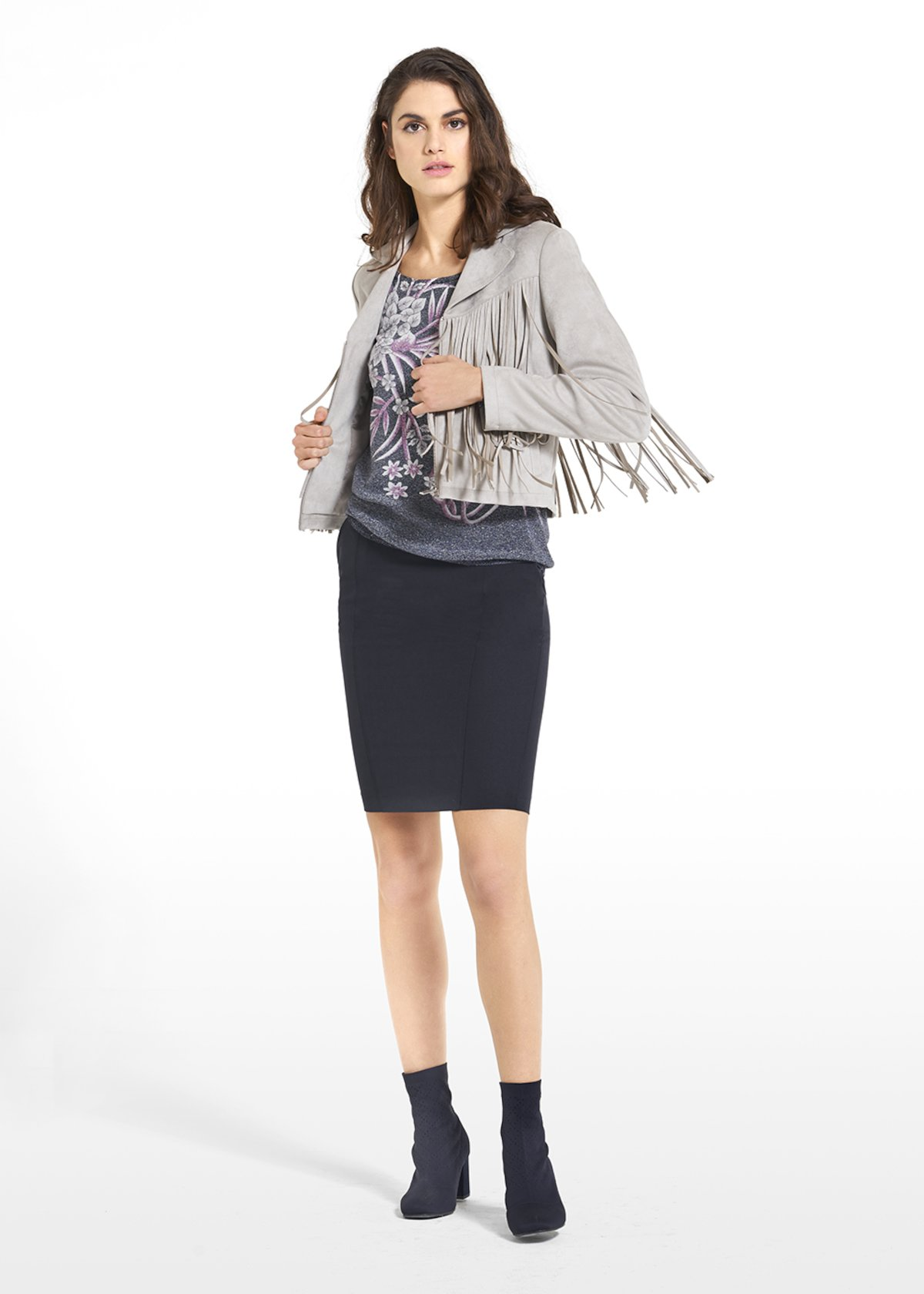 Eco-suede jacket Callie with fringes on the front and back - Grey-Blue - Woman