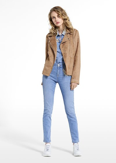 Eco-suede jacket Gliz with rivets and asymmetric zipper