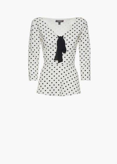Sarik t-shirt with polka dot print and bow on the neck