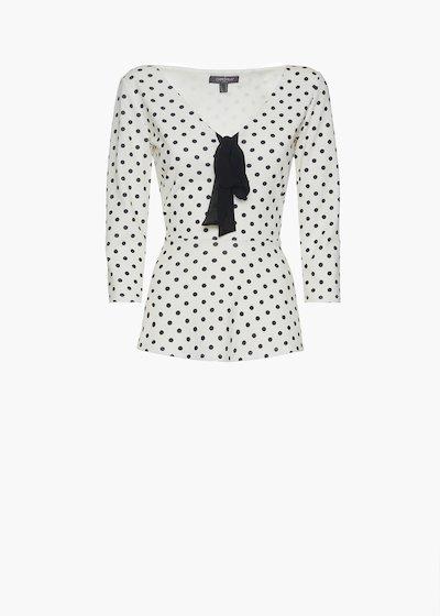Sarik t-shirt with polka dot print and bow on the neck