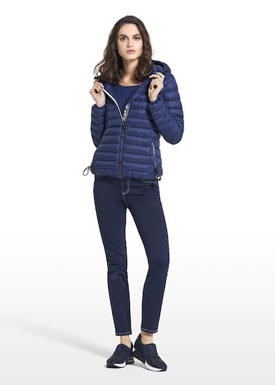 Down jacket in nylon Philis with hood and central zipper