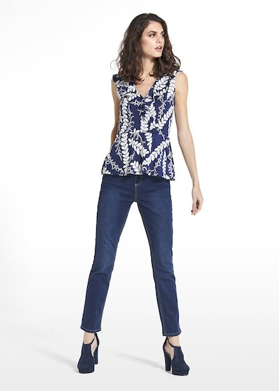 Top Trixy in jersey with rouces on the neckline