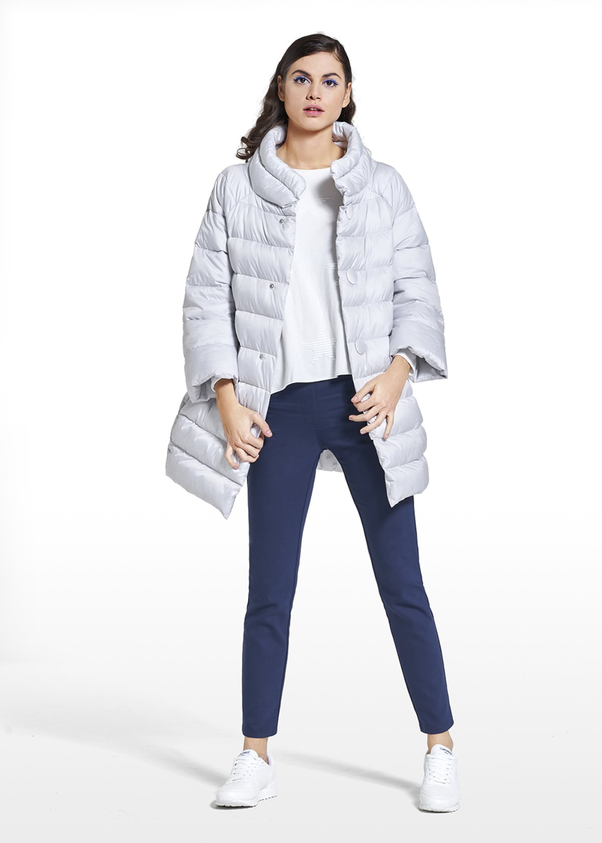 Down jacket Pablo with sleeves and high collar - Grey-Blue - Woman