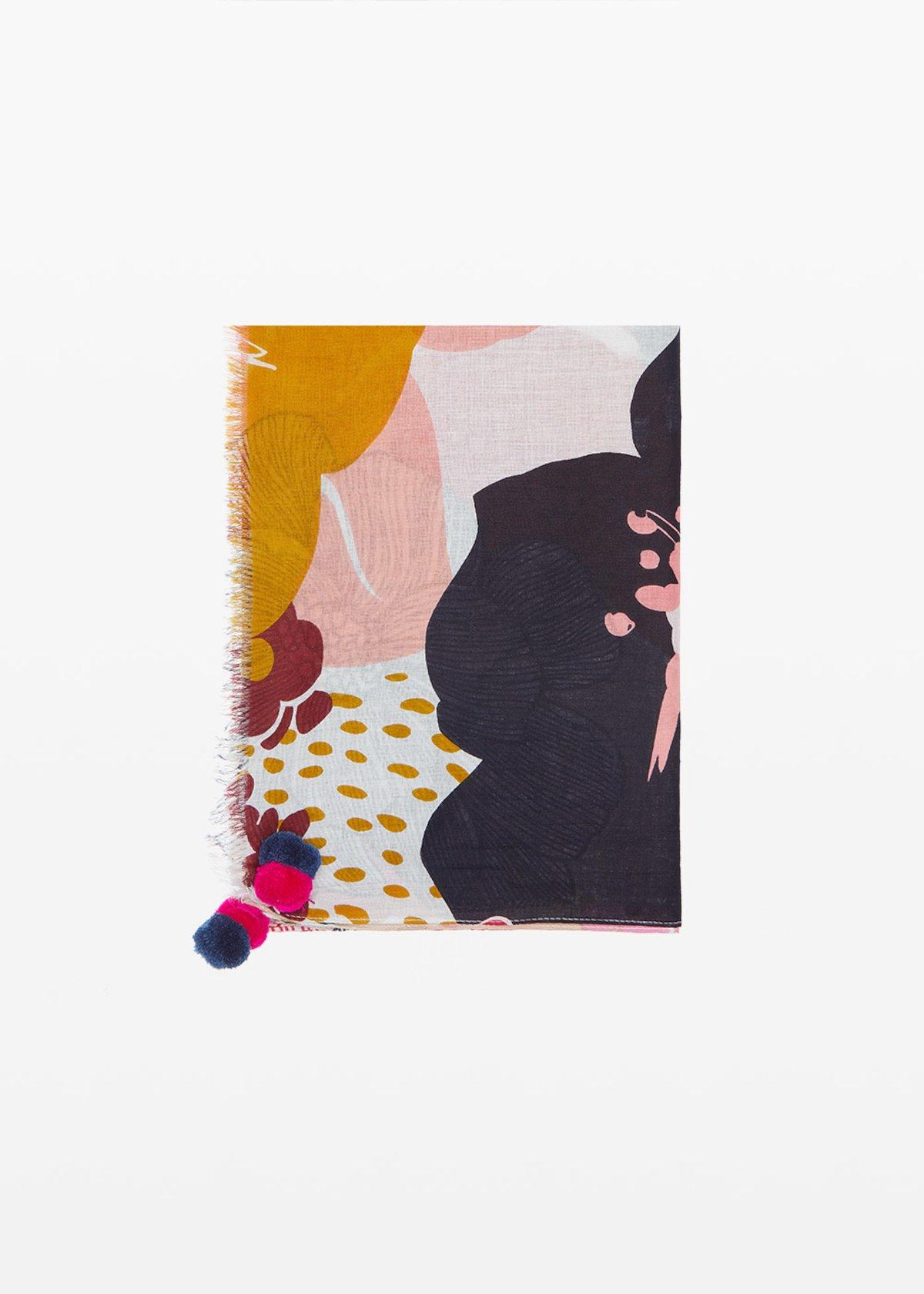 Sciarpa Shay con macro fantasia floreale - White / Kiwi Fantasia - Donna - Immagine categoria