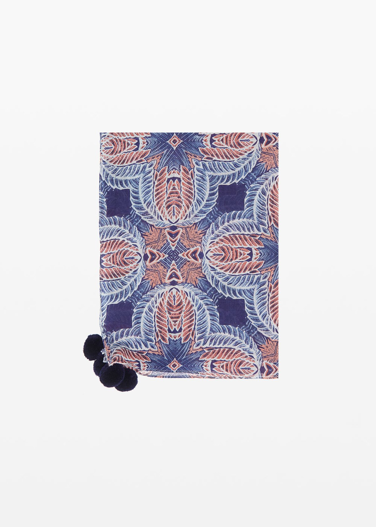 Sadye scarf with pompons detail - Night / Oca Fantasia - Woman