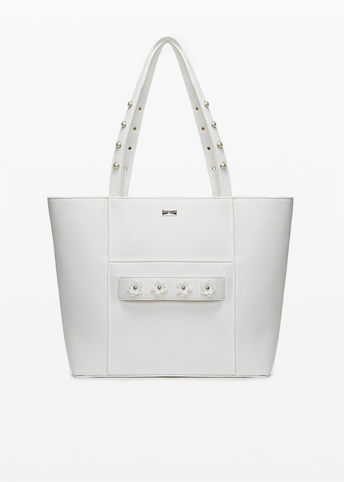 Boracay faux leather shopping bag with flowers detail - White - Woman