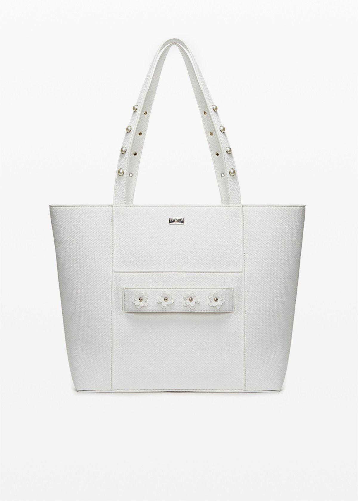 Shopping bag Boracay in ecopelle con dettaglio flowers - White - Donna - Immagine categoria