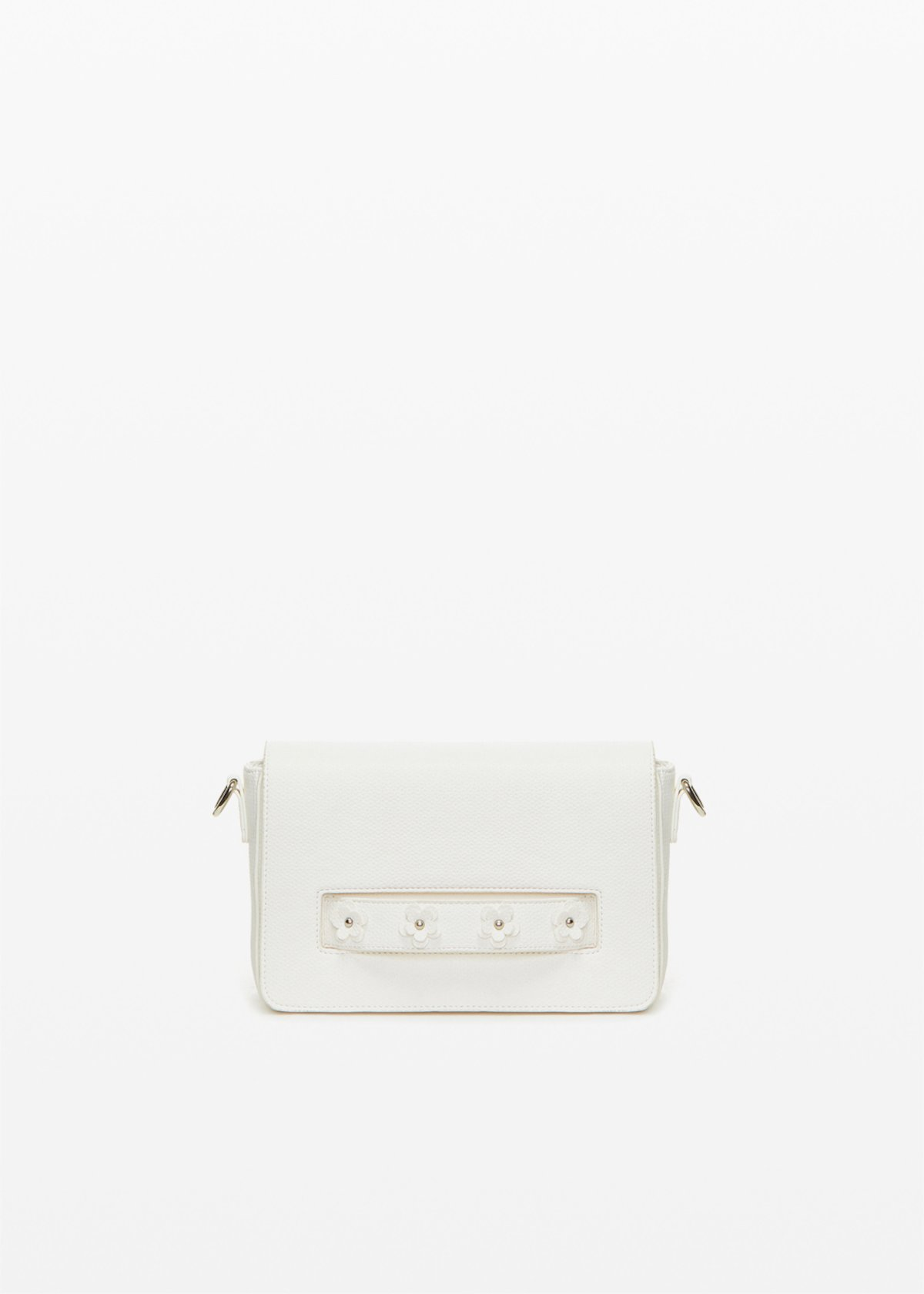Bay faux leather crossbody bag with flowers detail - White - Woman