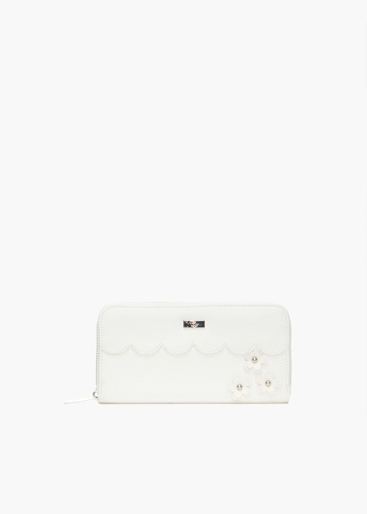 Placie faux leather wallet with flowers detail - White