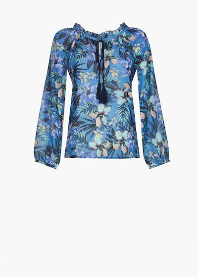 Cleof blouse in georgette flower print with round neckline