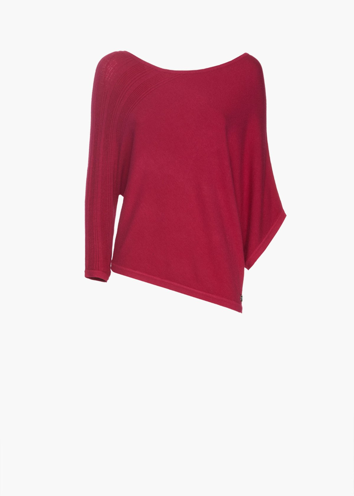 Sweater Major with boat neckline and asymmetric sleeves - Peonia - Woman