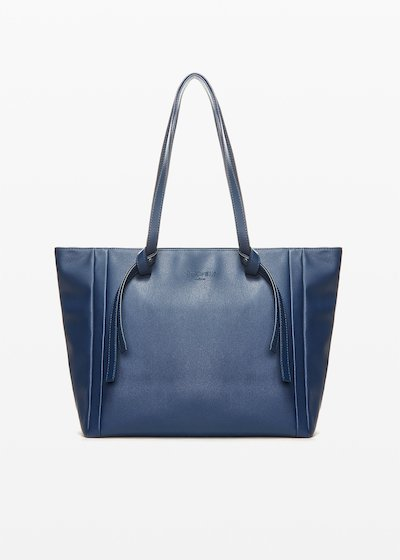 Bodak faux leather shopping bag with knot detail on the handles
