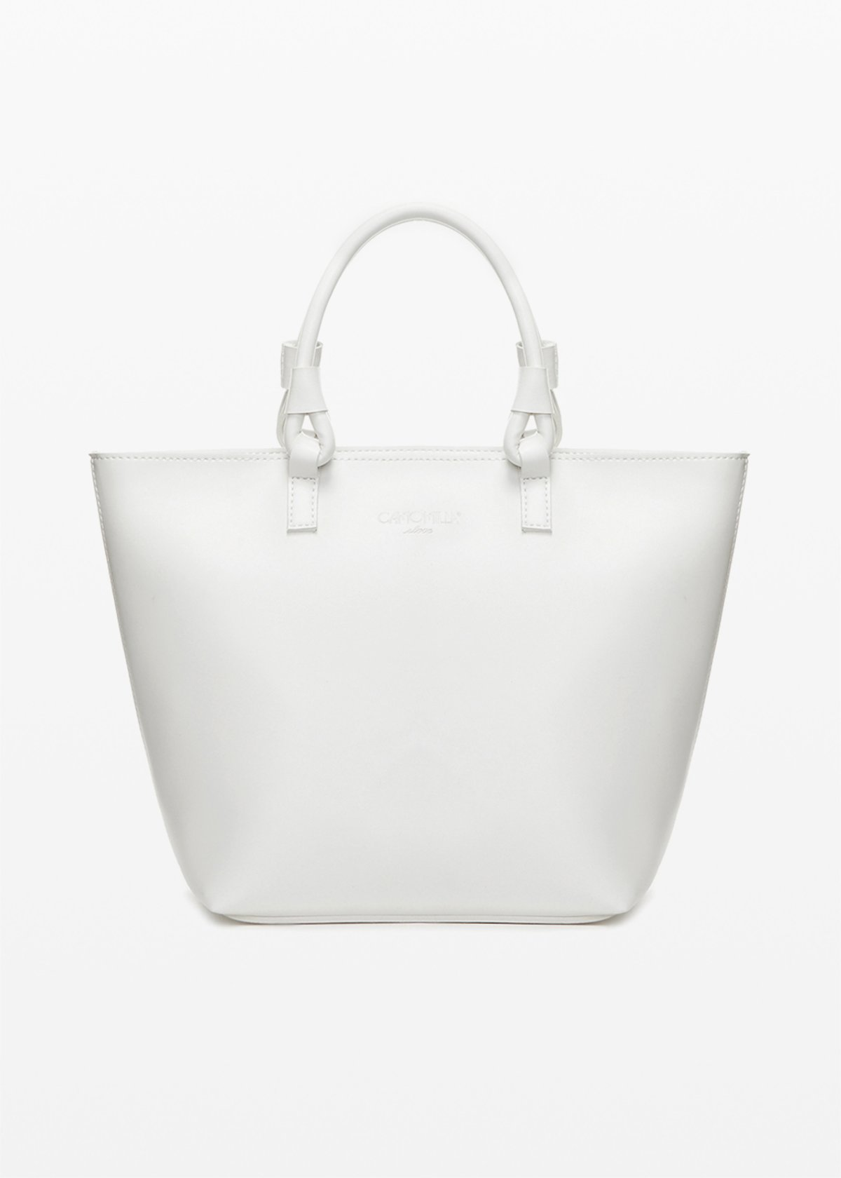 Banna faux leather shopping bag with ring handles - White - Woman