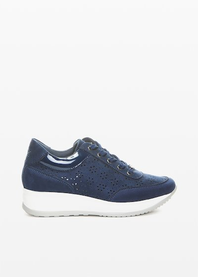 Faux suede Sindy sneakers with flower perforations