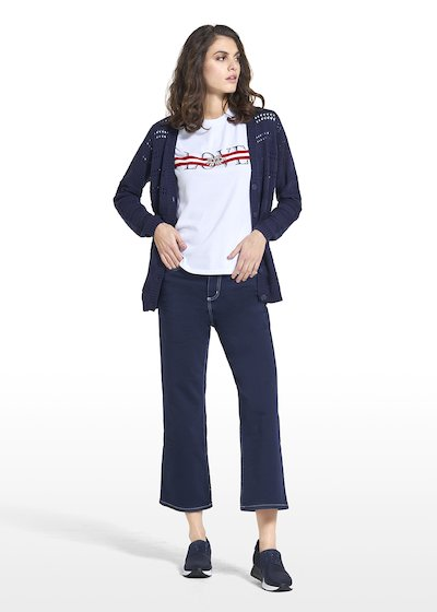 Pantaloni Plinio con impunture e ricamo CI in bianco