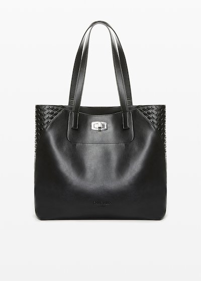 Bily faux leather shopping bag with interlacement detail
