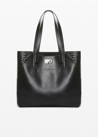 Shopping bag Bily in ecopelle con dettaglio intreccio