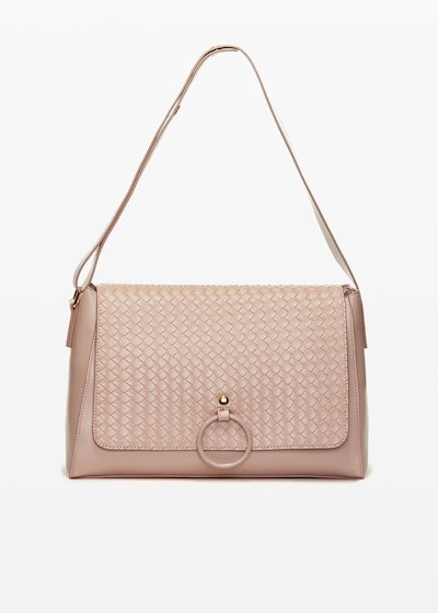 Boraliabr faux leather shoulder bag with braided flap