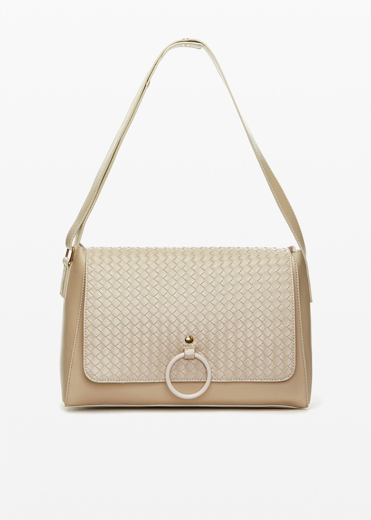 Shoulder bag  Boraliabr in ecopelle con patta braided - Doeskin - Donna