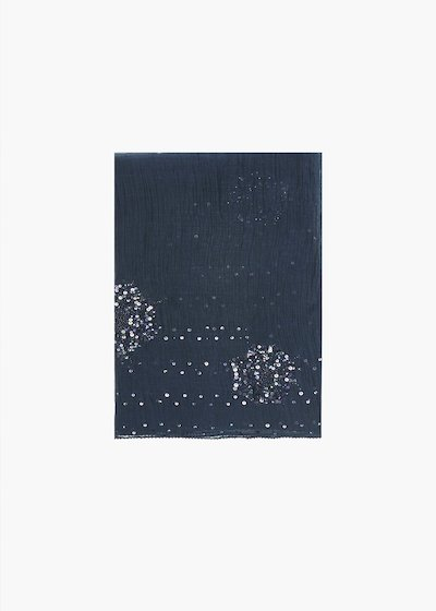 Spiry silk and cotton scarf with sequins detail