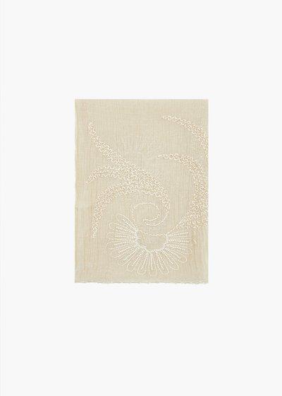 Sciarpa in seta Sinen in seta e cotone dal motivo ricamo e perline