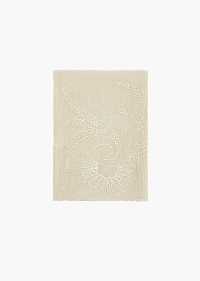 Sinen silk and cotton scarf with embroidery and beading pattern