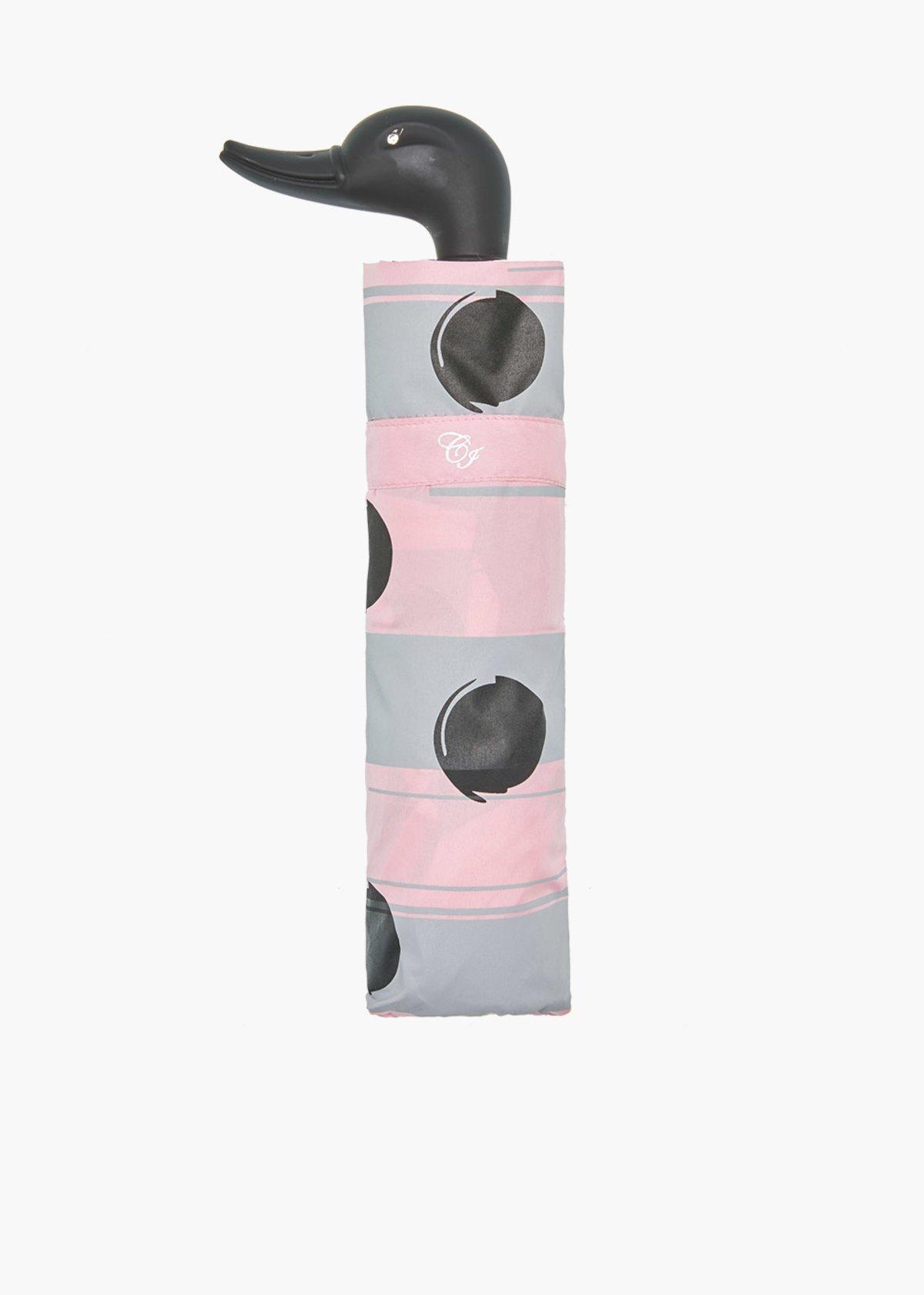 Stripes/Pois print umbrella with duck handle - Calcite / Ghiaccio Fantasia - Woman