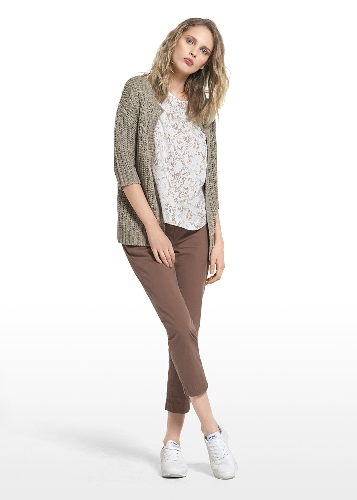 Cardigan Carlie with single button closure and with 3/4 sleeves - Beige - Woman