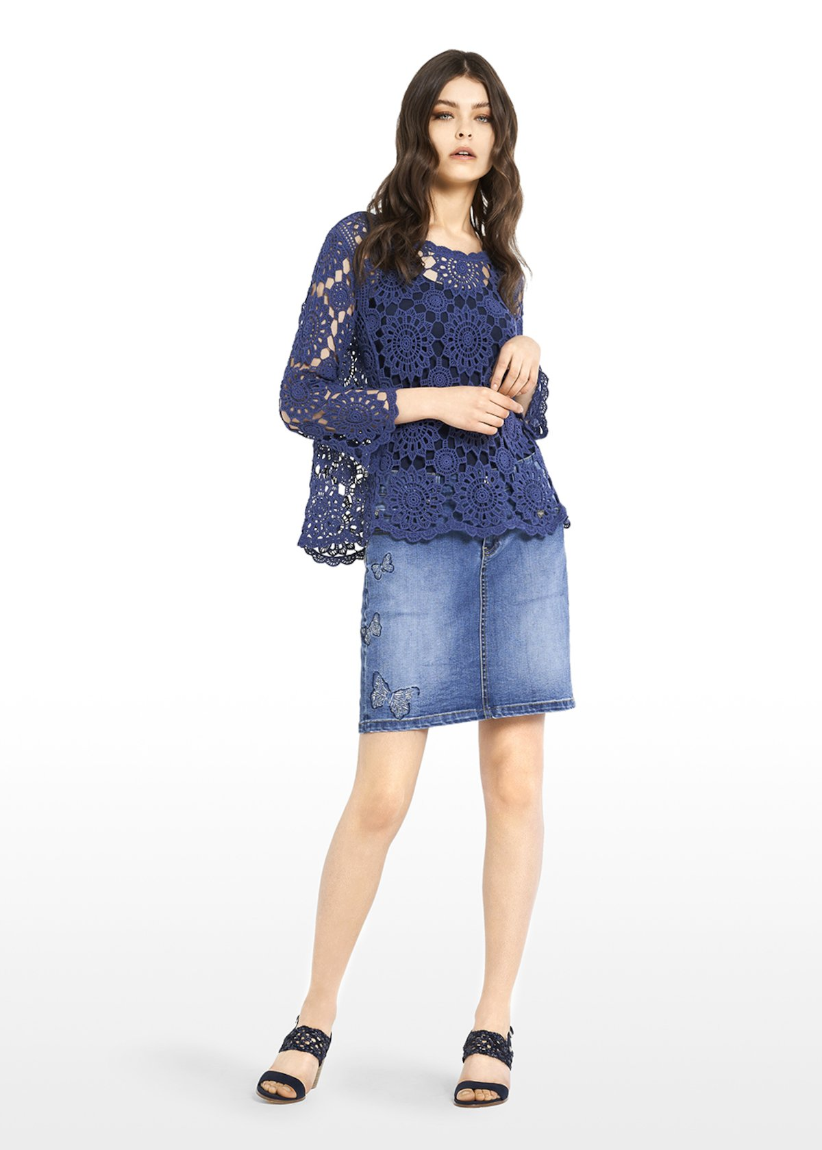 Suny crochet round neck t-shirt - Blue - Woman