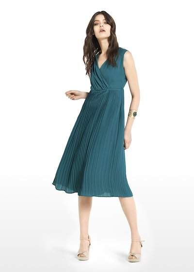 Andrey dress with crossover neckline and pleated skirt