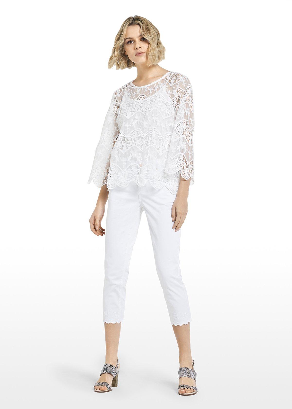 T-shirt Sesil scollo tondo effetto pizzo con fiocco sul retro - White - Donna