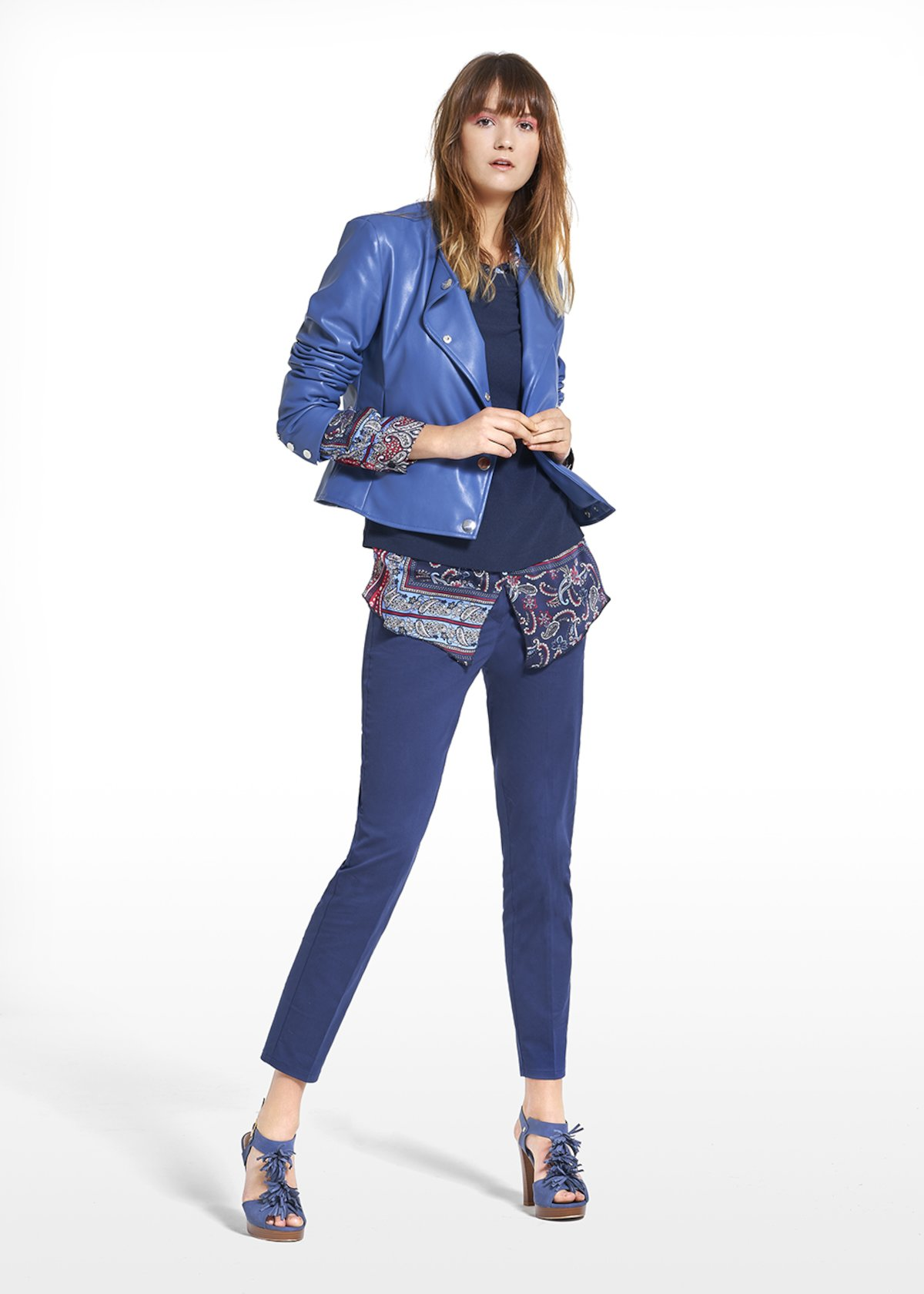 Faux leather jacket with side buttoning - Blue - Woman