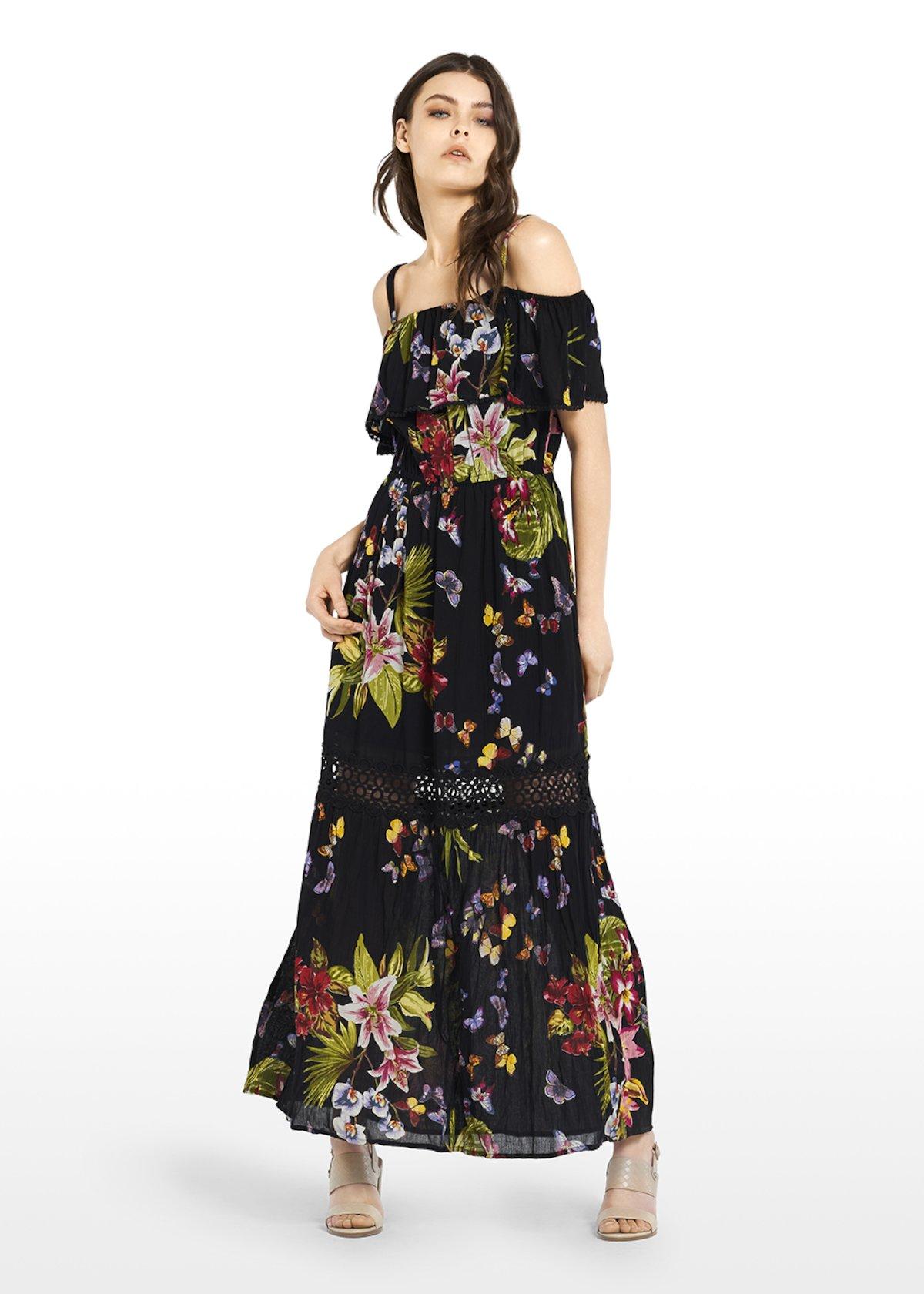 Amyl dress with flounce - Black / Peonia / Fantasia - Woman - Category image