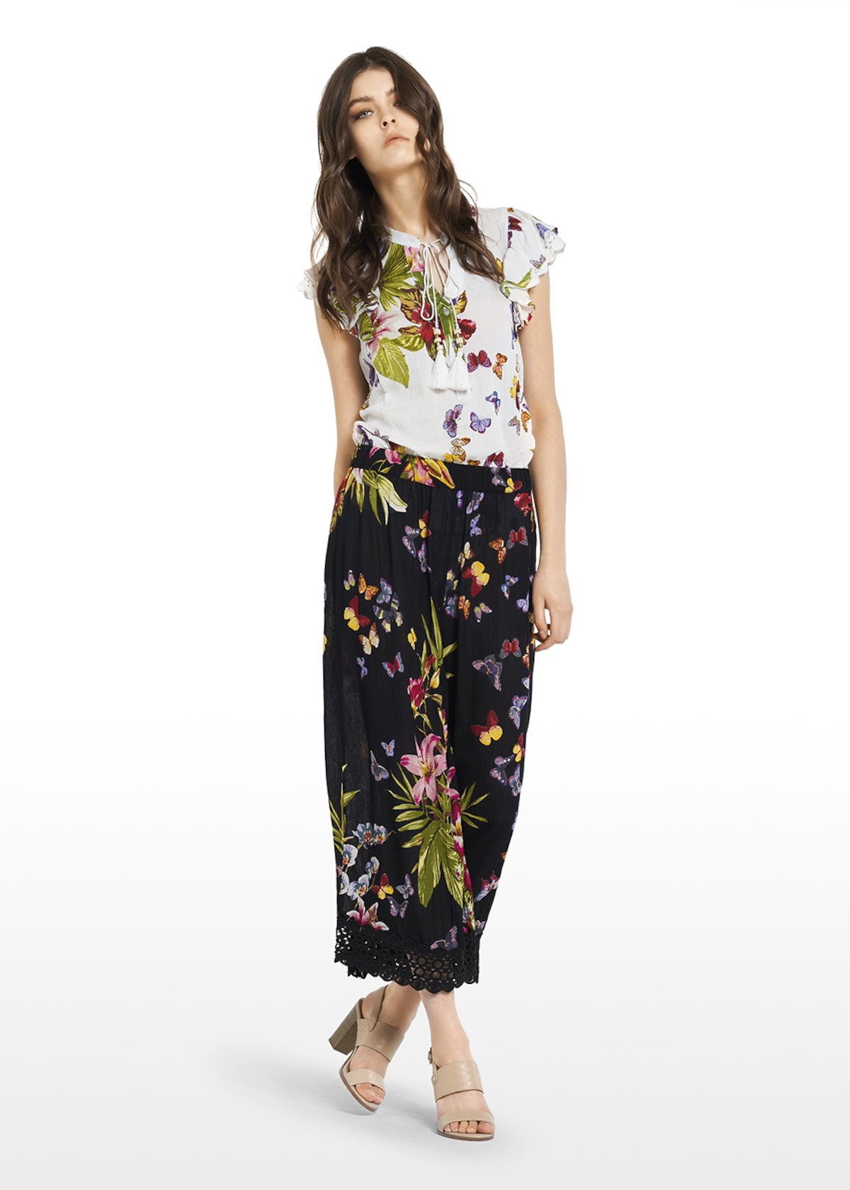 Pamy trousers with wide leg - Black / Peonia / Fantasia - Woman
