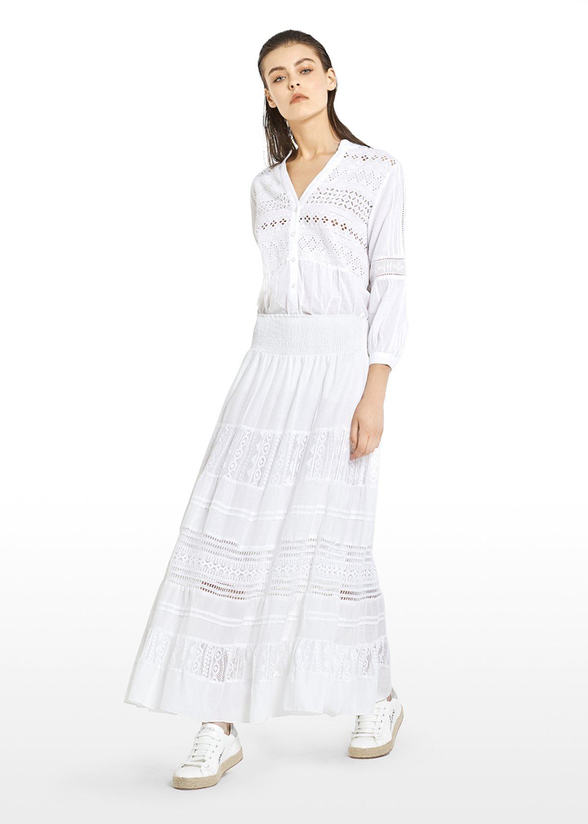 Gair long skirt with lace inserts - White - Woman