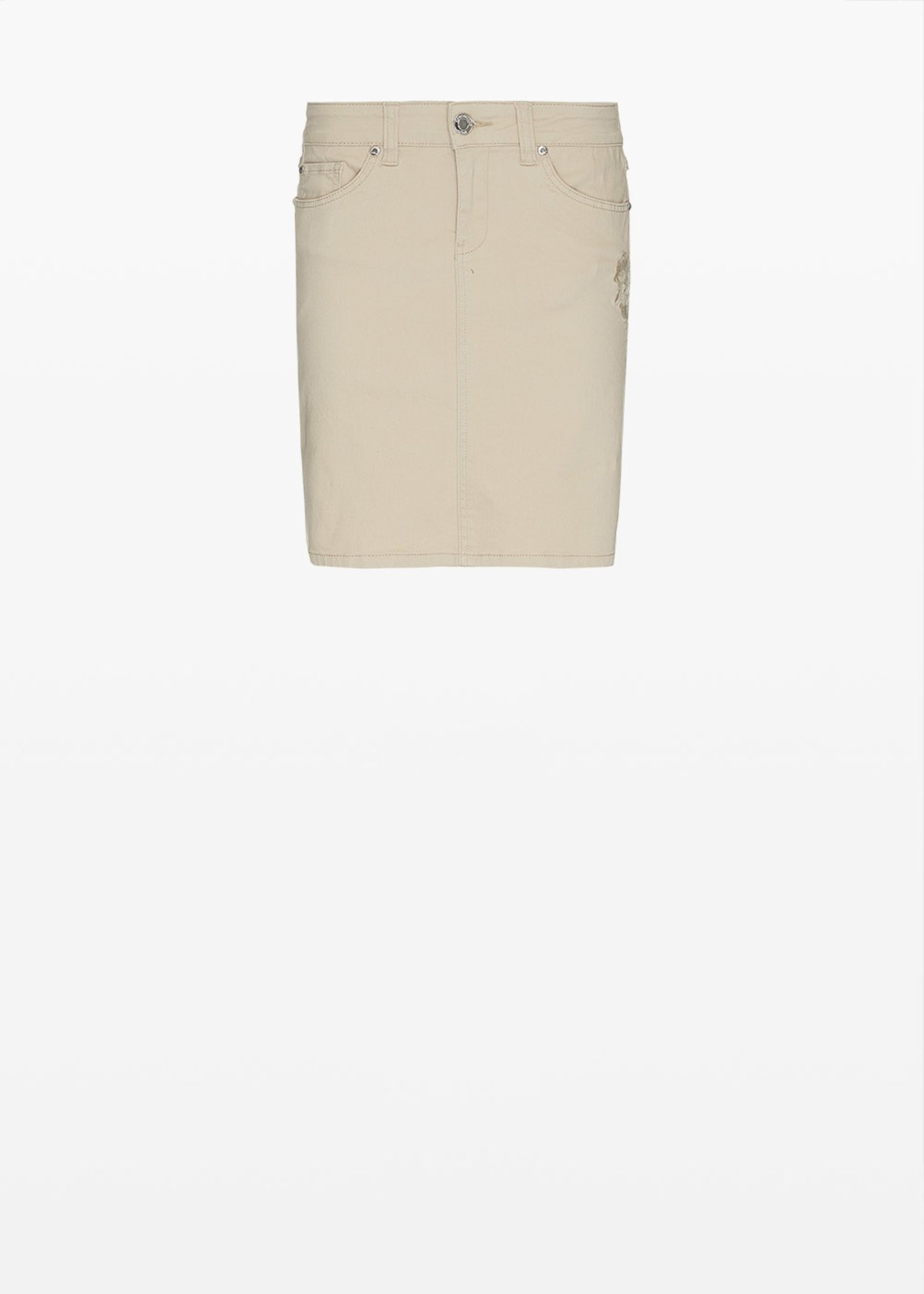 Grayce skirt with embroidery on the pocket - Light Beige - Woman