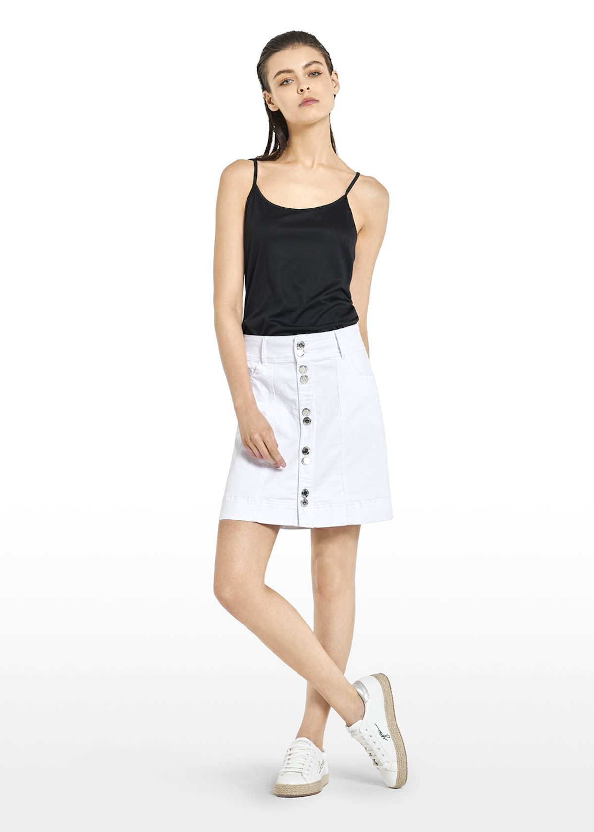 Glynda skirt with buttons - White - Woman
