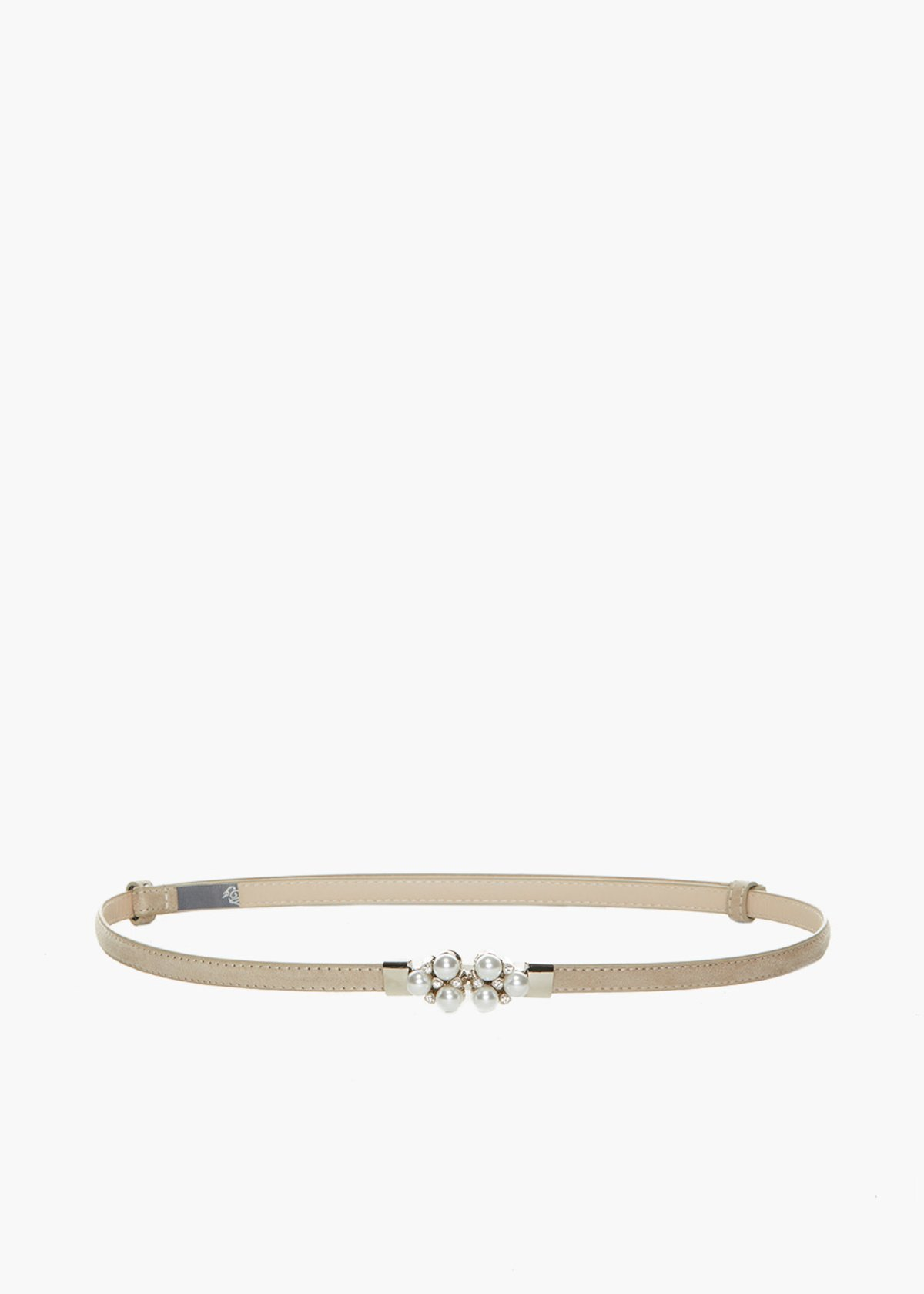 Faux suede Craia belt with pearls and crystal detail - Light Beige - Woman