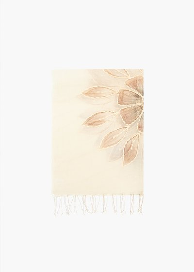 Sfia silk and cotton scarf with flowers and fringes embroidery