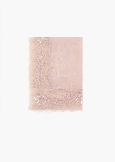 Sciarpa Sole in seta e cotone con patch-fiori