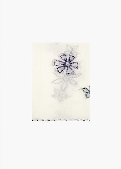 Sciarpa Swat in seta e cotone dal ricamo fiori