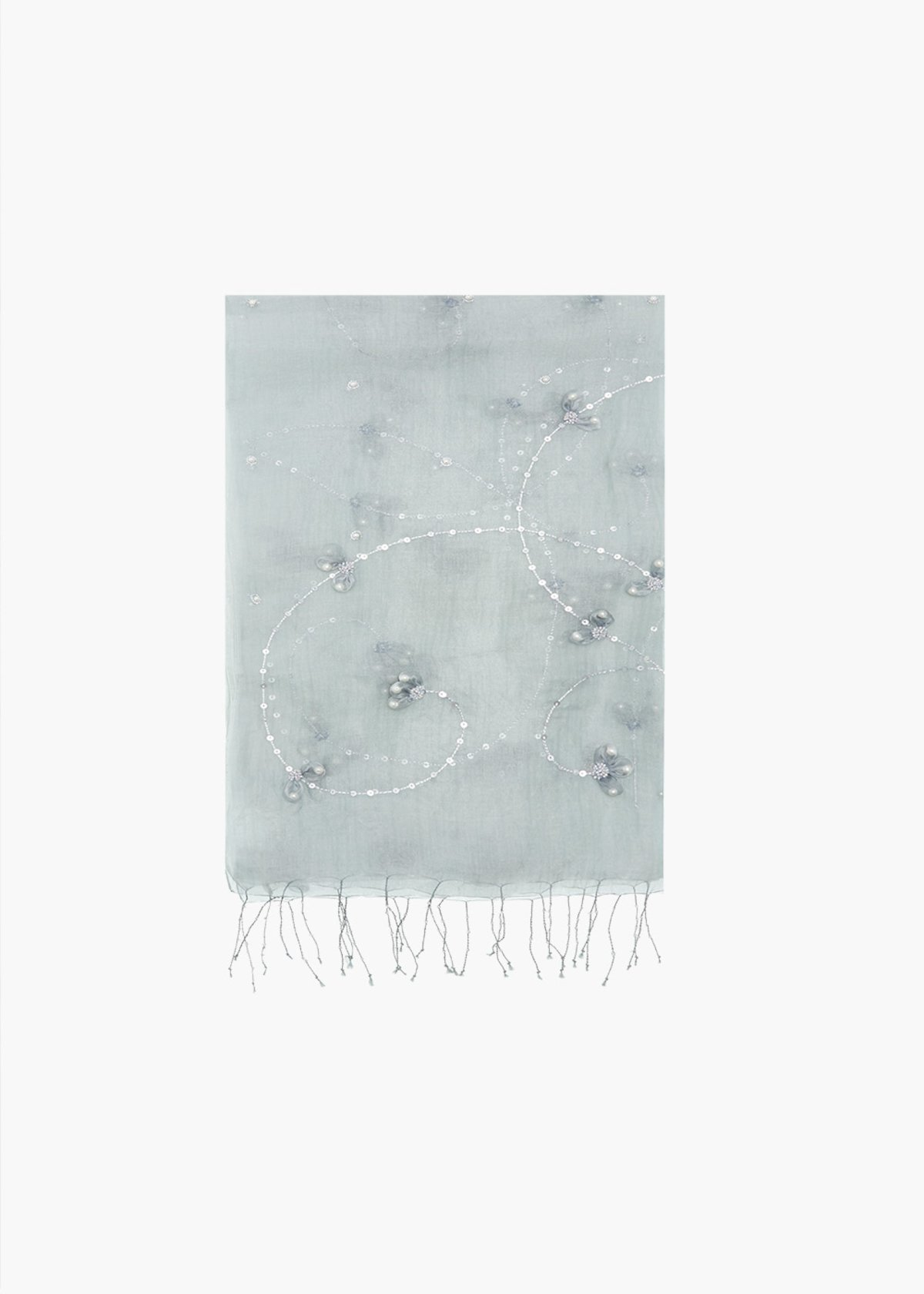 Sfere Scarf with beads and sequins - Grey-Blue - Woman