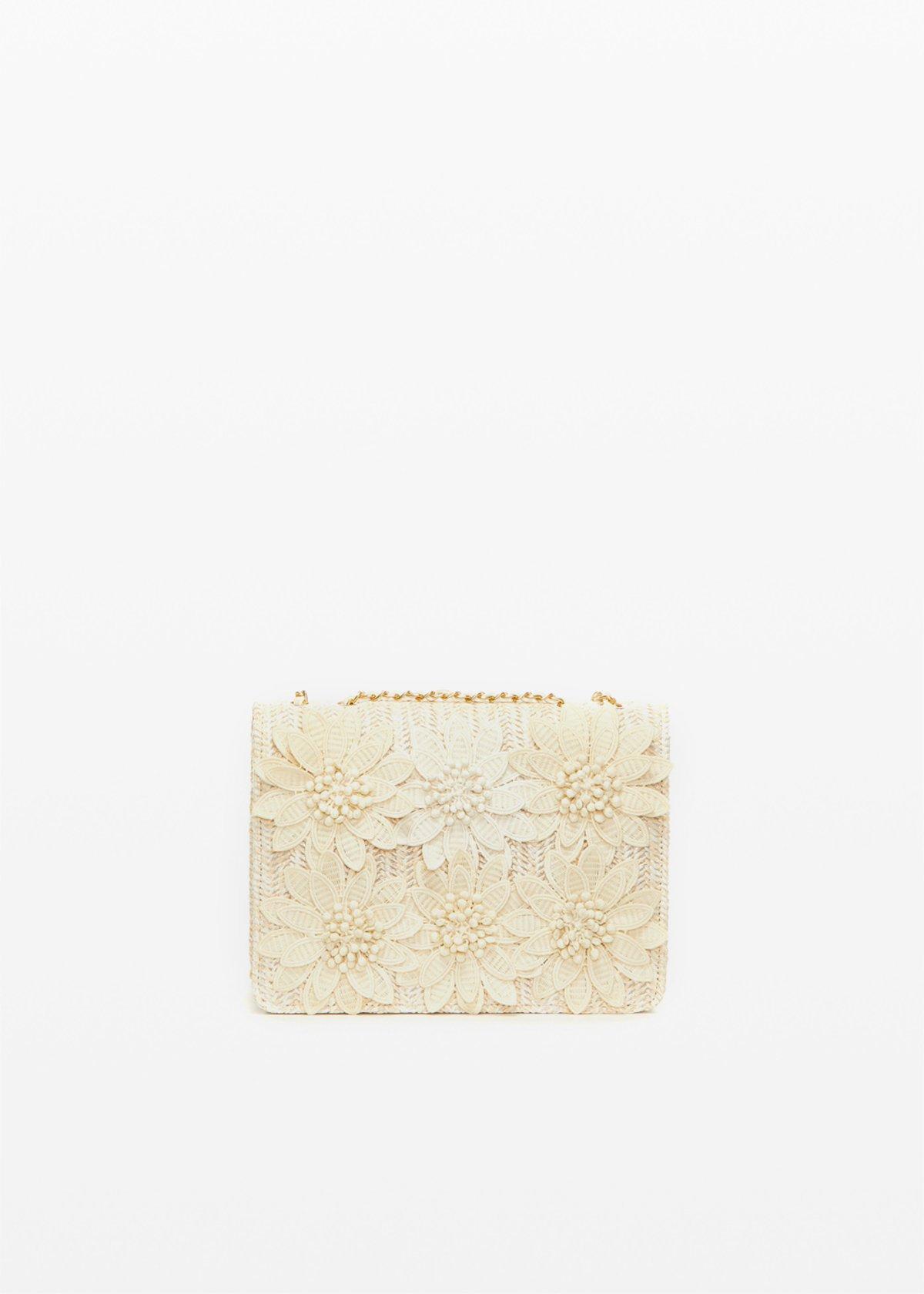 Fedeflora clutch bag with flowers - Light Beige - Woman