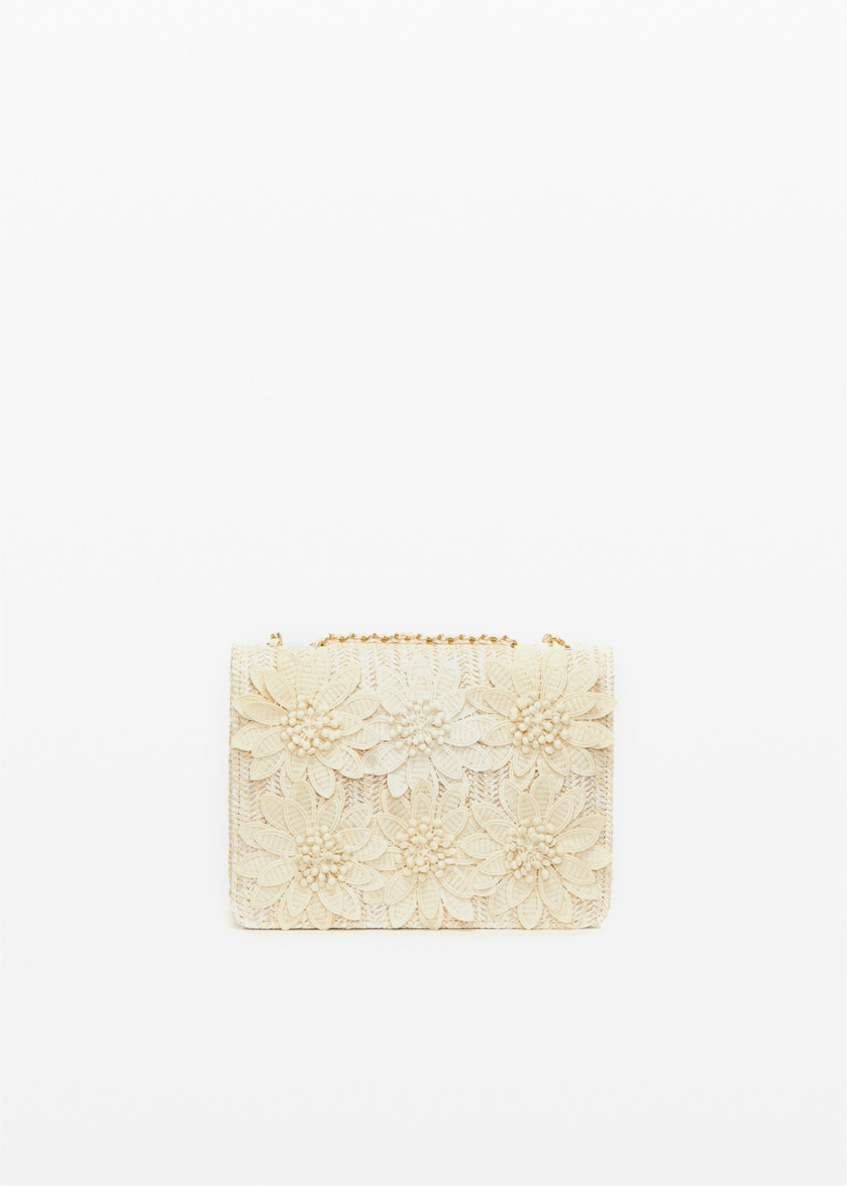 Fedeflora clutch bag with flowers - Light Beige - Woman - Category image