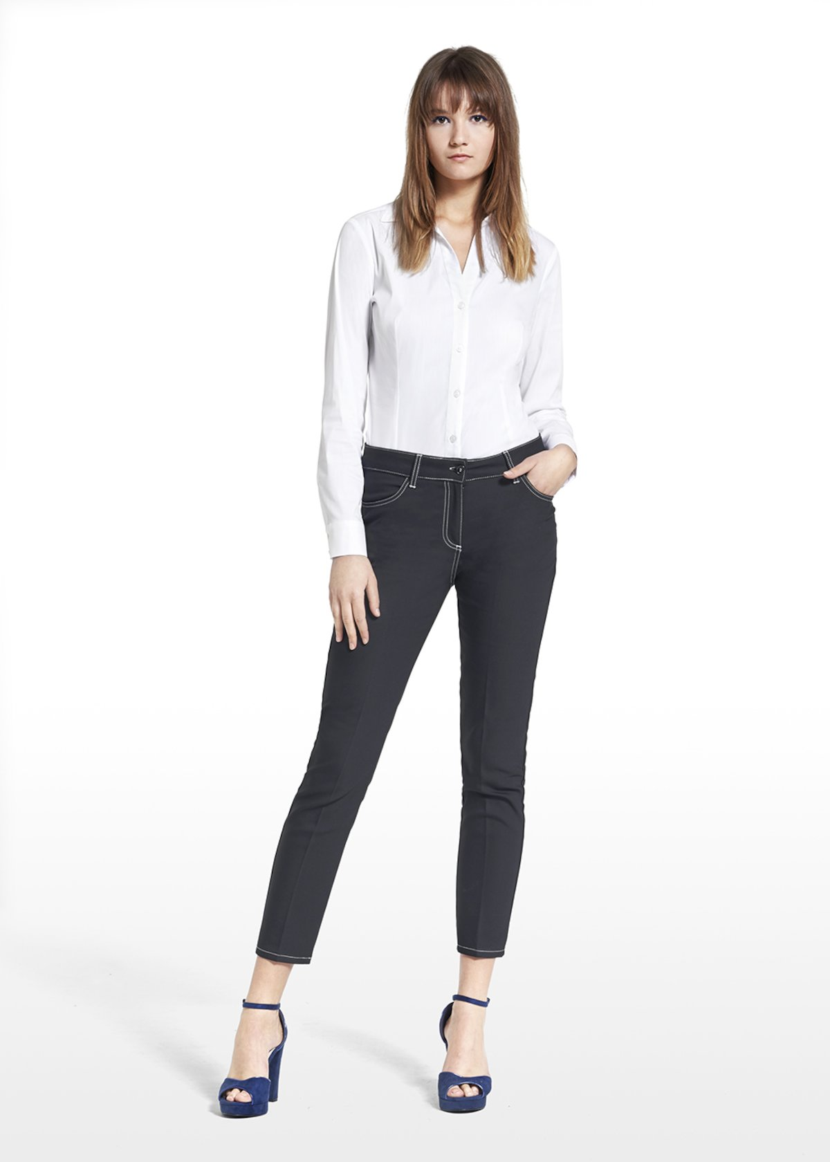 Poplin long-sleeved blouse Crizia - White - Woman