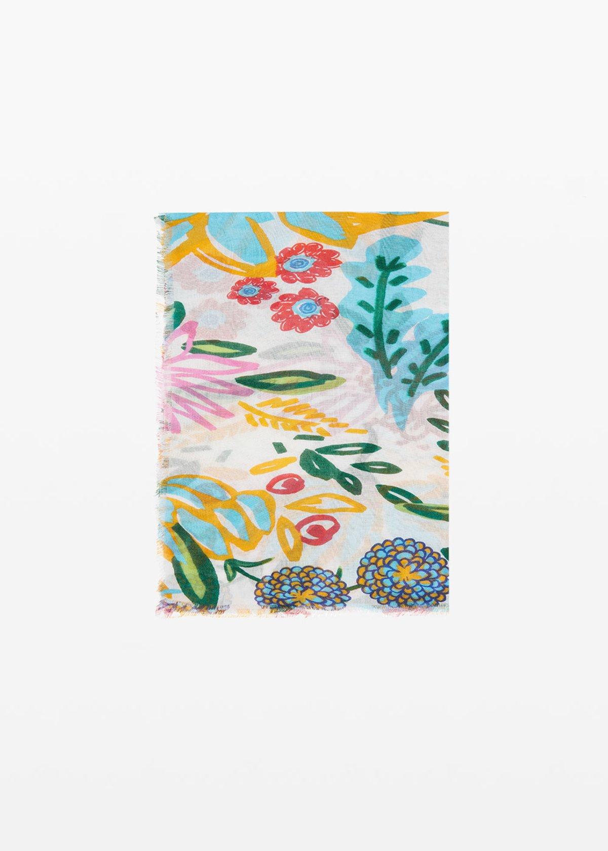 Salica scarf micro-flowers print - White Fantasia - Woman