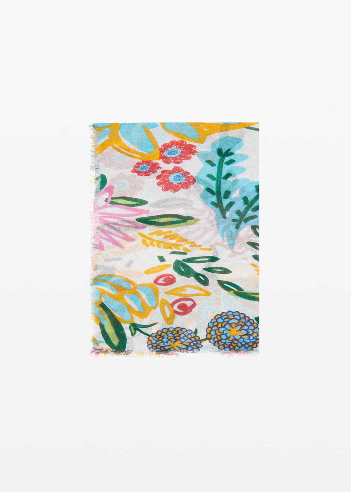 Salica scarf micro-flowers print - White Fantasia - Woman - Category image